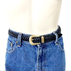 Vintage black leather braided belt rope woven gold